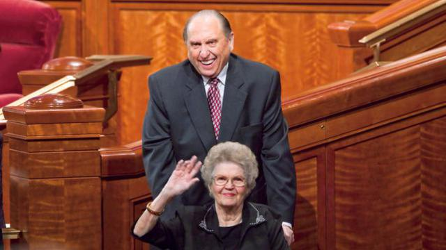 president monson with wife wheelchair